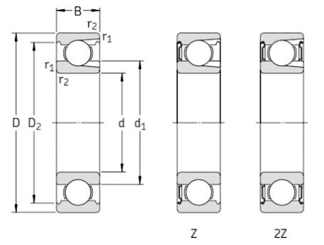 Однорядные радиальные шариковые подшипники с канавкой под стопорное кольцо и защитными шайбами чертёж