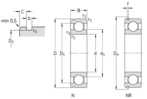 Однорядные радиальные шариковые подшипники с пазом для ввода шариков и стопорным кольцом чертёж