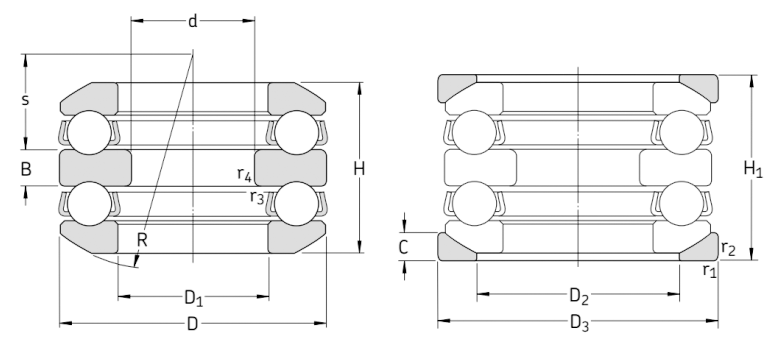 Одинарные упорные шарикоподшипники со сферическим подкладным кольцом чертеж