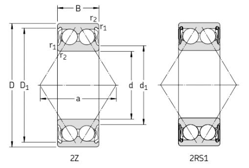 Двухрядные радиально-упорные шарикоподшипники с уплотнениями чертеж