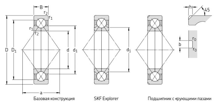 Радиально-упорные шариковые подшипники с 4-х точечным контактом чертеж
